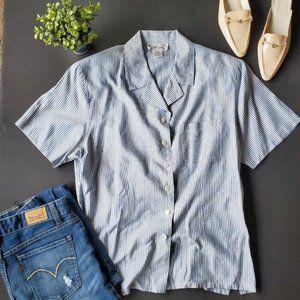 💍Vintage Silk Land Striped Button Down Shirt